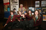 The winning team, from Litcham School, with host Alec Williams