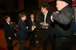 Anthony Horowitz presenting the prizes to the team that came second, Ermysted Grammar School