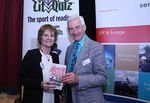 Compere Alec Williams with author Theresa Breslin