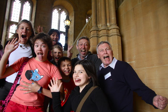 Wayne with the NZ team and Michael Rosen at Christ Church, Oxford