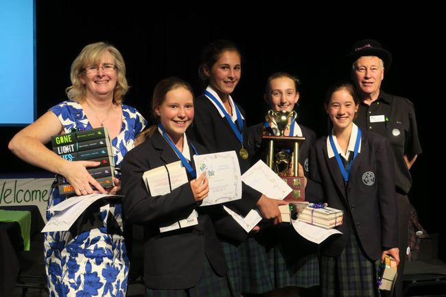 Kinross Wolaroi School, winners of the 2016 Australia National Final, with coach Nicole Deans